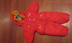 2 piece girls snowsuit. red with faux fur around hood. very warm.  excellent condition from a smoke free home
