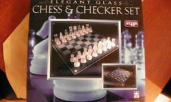 brand new glass chess set would make a beautiful Christmas gift for the avid chess player still in box ;;never used paid 50.00 for it new in the U.S. so definitely much more here