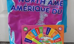 """This is a super game for kids of all ages, based on the style of """"Twister"""" but with a neat twist: continents on a big world map are the spots where left/right hand and feet get placed your turn with the spinner. This game is also bilingual, in both French"""