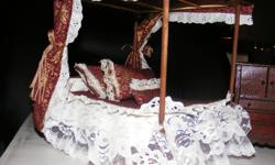 I HAVE A BEAUTIFUL DOLLHOUSE CANOPY BED FOR SALE WITH BED COMFORTER AND PILLOWS THAT MATCH THE CANOPY.. IT ALSO COME WITH A LACY SHEET. THERE ARE 3 BUREAUS THAT MATCH THE BED. THIS IS A GORGEOUS BEDROOM SET FOR SOME LUCKY LITTLE LADY AND HER DOLLS OR