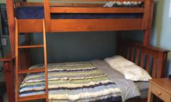 Deep stain poplar wood bunk beds - twin over queen. About 5 to 7 years old. Excellent condition.