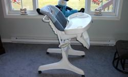 Selling high chair that we used, but is still in like new shape.  Has a seat belt, removable tray and removable padding for washing.  Height adjusts and also reclines.  It has locking wheels.  Was used in a pet free and smoke free home.