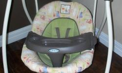 Gently used, great condition Graco Winnie the Pooh baby swing. Has 6 speeds, plays 15 tunes, has nature sounds, a timer and volume control. Has a 5 point harness that can also be used as a 3 point harness and a tray. Also has multiple back adjustments.