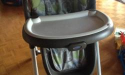 Excellent used condition graco highchair. Machine washable seat cover, adjustable height positions, removable tray, locking wheels, folds for storage. Bought new, toddler has outgrown wanting to use it!
