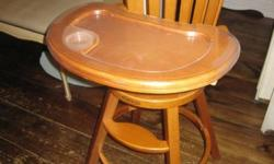 Graco solid oak highchair. In great condition. $60.00 Safety belt. Removable tray/ also removable clear tray for easy cleaning. Please contact by text or phone 519 216 2614 Can deliever to Barrie