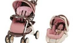 ***Only used for 6 months*** Excellent Condition PINK and Brown floral pattern Baby number two is almost here so had to get a double stroller Retails for over $350 Perfect for your little Princess Expiry 2014 Never been in accident. Smoke free home