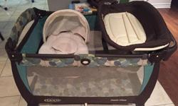 We are selling a Graco Pack and Play Playpen including the original bassinet and change mat. Music box is missing.