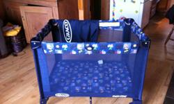 This is a full size GRACO pack and play style playpen/playard with basinette option.  This was the spare playpen that was kept at Gramdma's house for when baby would visit and would need to nap. As a result it was not used very often and is in fantastic