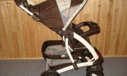 This stroller is for up to 50 lb. It was used for two years for one child and has always been stored indoors. Paid over $240 for it from Sears. Comes with instruction manual. Pattern will suit a boy or girl. It is easy to use.. Will fit Graco Sung Ride
