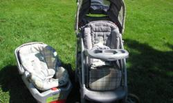 """Stroller & Car seat in Excellent condition. Stroller comes with brand new seat cover (it was replaced under warranty and never installed). Car seat is the """"Safe Seat plus"""" with 30 lb capacity (most standard infant seats are only good to 22 lb), and is"""