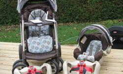 """Everything you will need is right here.  Graco Quattro Tour Deluxe Travel System with 2nd base in Melbourne pattern.  Never been in an accident.  Used for 1.5 years, in excellent condition.  Car seat holds up to 32 lbs and 32"""", most only hold up to 22"""
