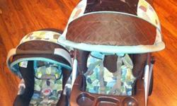 This CarseatStroller / Stroller combo was gently used for about 2years for 1 child.   Item is in a non-smoking / no pet home. Car seat never in a car accident. Has 1 base that came with system.   Lovely 'Utopia' print - great for a boy or girl. Was