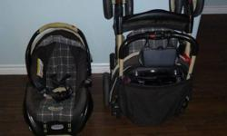 "The car seat has expired but still in good condition to be used as a stroller and carrying seat. Wheels: 8"" and 9.25"" Durable aluminum frame One hand fold with storage latch Four position flat reclining seat 3-point harness Parent tray with storage"