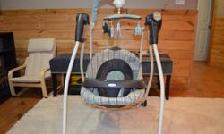 Graco motorized swing that includes: 3 Seat Positions 6 Speeds Music & Sounds with timer Nature Sounds Removable tray Mobile This swing is in very good condition. It is 4.5 years old and was used with one child. It still works like new. Smoke-free