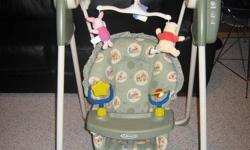 Graco Swing with a tray Great for newborn up to 18 months Motorized swing at three levels Plays music at 4 different volumes Comes with a mobile and three washable Winnie The Pooh characters and two hand held toys Uses D batteries Folds up for easy