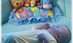 winnie the pooh and friends night soother Lights, lullabies and sweet phrases from Pooh, Tigger and Eeyore soothe baby to sleep! A little heart and star light up and glow softly as nature sounds play! Mom can set three play modes and lullaby times. This