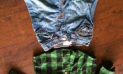 Joe Green plaid shirt & old navy jeans 3-6 mths - $5 Pittsburgh sleeper - Reebok - 12 mths (small) $4 Blue & brown Old Navy Zipper Hoody - 6-12 mths $3 Yellow Ralph lauren Polo - 9 mths - $2 John Deere diaper shirt 6-9 mths -$3 Ralph Lauren orange shorts