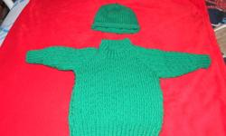 Green knitted sweater with matching hat. For boy or girl, Size 9-12 month. Great for the holiday season. Cost $16.00. Please call 437-6579