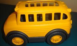 the Green Toys? School Bus! Made from 100% recycled plastic milk containers that save energy and reduce greenhouse gas emissions, this sturdy bus is ready to be loaded up for an earth-friendly ride to the classroom, a field trip, or whatever excursion
