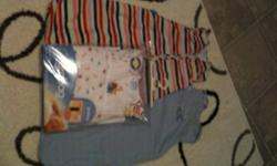 Three grobag's for sale (the baby sleeping bag)! All size 0-6 months. $30 each or all three for $75, Firm! They retail for $55 plus each. Two are 1.0 tog (rainbow strips and blue/white stripes) and the other is a 2.5 tog (jungle animals)! See photos!