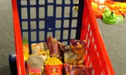 """I have a child size grocery cart comes with food items pictured. Has little shopping basket also. The cash register has a """"scanner"""" that beeps when you scan food items.Comes with play coin money,Canadian, and a credit card. When you """"swipe"""" credit card"""