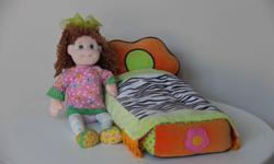 """Bed: 18"""" (L) x 8"""" (W) x 6.5"""" (H) Like new condition. My daughter wasn't into dolls so never played with them."""