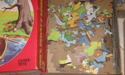 ...Here are some rainy-day Fun Things ....to pass the time!..Jigsaw Puzzles!....Some have 100 pieces....Some have 125 pcs..and some have 160 pieces!.......Donald Duck!...Mickey Mouse!...and more!......All are boxed!...All are complete!...All come from a