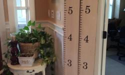 """This wood growth chart is painted cottage white with distressing and measures 7""""wide x 6' tall. the are priced at $40 each. One has the word """"Family"""" at the top and one has a scroll detail. Different colored sharpies make these great for many kids. Great"""