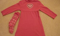Gymboree cotton dress, size 5 with co-ordinating tights, size 5-7.  Both items 100% cotton and in brand new condition - no marks or snags.  From a smoke-free home.