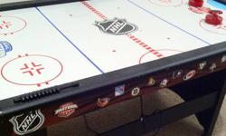 Comes with 2 paddles and 4 pucks. It has automatic electronic scoring. NHL theme gives it a great look! This table was $200 new and has barely been used. Please email me if interested. Serious offers only, not interested in trades.