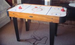 HALEX POWER GLIDE AIR HOCKEY TABLE * Hockey Table Works and is in Good Condition * * A Great Christmas Gift for Young Children, or the Young at Heart * Comes with: 1 - HALEX Power Glide Air Hockey Table 2 - Red Paddles 1 - Red Hockey Puck (See pictures
