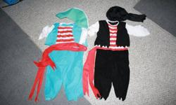 pirate costume... size 3t  ( btoh for 10 $) EUC worn once childrens place turtle costume  size 24m  12 $  EUC Giraffe toddler coat size 3t  10$ EUC, very warm Lion costume ( size 3x/4) fits big. very very warm EUC  15$ girls medival princess dress  5$