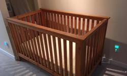 For sale is a handmade crib, fashioned from reclaimed fir out of a 100 year old house in Vancouver. Our children have all outgrown it but still in excellent shape and a beautiful piece. (You're welcome to have the mattress that came with it free or we'll