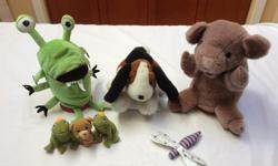 Hand puppets $2: Pig from Gund Puppy (fingers in front legs) Finger puppets 75 cents: 2 Frog Princes 1 Bear 1 Dragonfly New or in excellent condition from a smoke and pet free home.