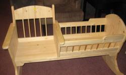 Hand made doll crib, made from real wood. Mint shape, ready to be stained or painted.
