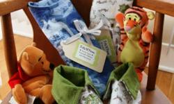 Handmade baby bibs, burp pads and slipper sets. Bib's are large size $7.00 each. Burp pads $5.00 each. Slippers $5.00 Bibs and burp pads are made with three layers of 100% cotton flannel. Also have baby cloth shoes for newborn.