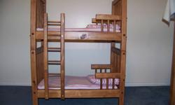 "28"" high  22 1/4 "" long 14"" wide Doll bunkbeds...has a removable ladder and can be seperated to make two single beds.....Have 4 sets ready to go..."