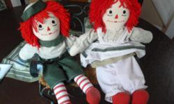 "Handmade Raggedy Ann and Raggedy Andy Dolls Fully dressed Handmade 15"" Tall Includes a cast iron park bench (green with rattan seat) $35 for all! Price is firm. Downtown, Ottawa"