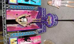 """Hannah Montana """"In Concert Stage"""" (needs batteries, but works), purple vanity set,""""Backstage Closet"""", two dolls, clothes and accessories. All items from bug & smoke free home Check out my other ads!"""