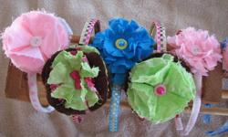 Assorted homemade headbands $3 each or 2 for $5 Assorted homemade hair clips $2 each or 3 for $5