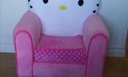 LIKE NEW !! This Hello Kitty Chair is a bigger size kid's chair and is a great spot for sitting back and hanging with friends! The soft and durable polyester minky fabric has a cozy feel and cleans easy with mild soap and water. Made in USA They will love
