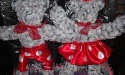 Cute couple 45.00 or 25.00 each Work bear, Plaid bear, Lavender bear, Party bear and Little Sister. ready for Christmas......25.00 EACH