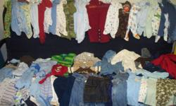 25 Sleepers / PJs 19 Onesies 6 Pants 5 Shirts 1 Vest 3 Jeans 3 Overalls 3 Sweat Shirts 2 Sweat Suits All in good condition from a smoke-free home. Various brands (Carters, Old Navy, Joe, Childrens Place, etc....) See my other baby stuff ads!