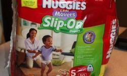 I have a 50 pack of size 5 Huggies Little Movers Slip-On diapers for sale.   They have been opened for my son to try them on.  One is missing but he doesn't like them, prefers the old fashined side opening diapers, so I'd like to sell them. There are