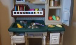 KID'S KITCHEN SET THAT IS DESIGNED TO MATCH TODAY'S DECOR TREND. STAINLESS STEEL OVEN,MICROWAVE,AND REFRIGERATOR PROVIDE VALUABLE STORAGE SPACE. FUN ELECTRONIC COOKING & MICROWAVE COOKING SOUND. DECORATIVE PLATE RACK STORAGE SHELF AND SINK WITH FAUCET.