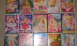 A selection of Barbie DVDs for sale as listed below - $5 for each movie Barbie: Mariposa an her Butterfly Fairy Friends (Widescreen) Barbie: The Princess & the Popstar (Widescreen) Barbie in the Nutcracker (Widescreen) Barbie and the Three Musketeers