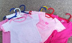 Onesies are 3-6 months Clothing is 12-18 months Red Jacket - Roots size small Yellow bunting bag - New Baby 3 months Infant float aid - $10 new condition