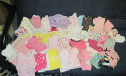 Infant girls clothing lot, everything you'll need for the first 6 months. 53 oneses (long and short sleeves), 20 pairs of pants, 3 skirts, 5 shorts, 6 dresses, 20 sleepers, 5 rompers, 12 sweaters, swimmers, shoes, boots, hats, bibs, etc. 1 Pink bunting