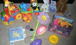 I have the following Infant to Toddler Lot up for grabs. It's finally time to let go of these items, including a favourite, the Fisher-Price Animals Train!! May consider selling items seperately. 20 (mostly brand name) items inlcuded - asking $45.