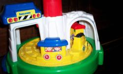 Shelcore train-goes round when top is pushed, bell rings-$5   See 'n Say-animal sounds when pushed.  Plays Farmer in the Dell-$5   Cat in the Hat-talking figurine-$5   Spongebob-dances, sings, bends over and pants rip-$10